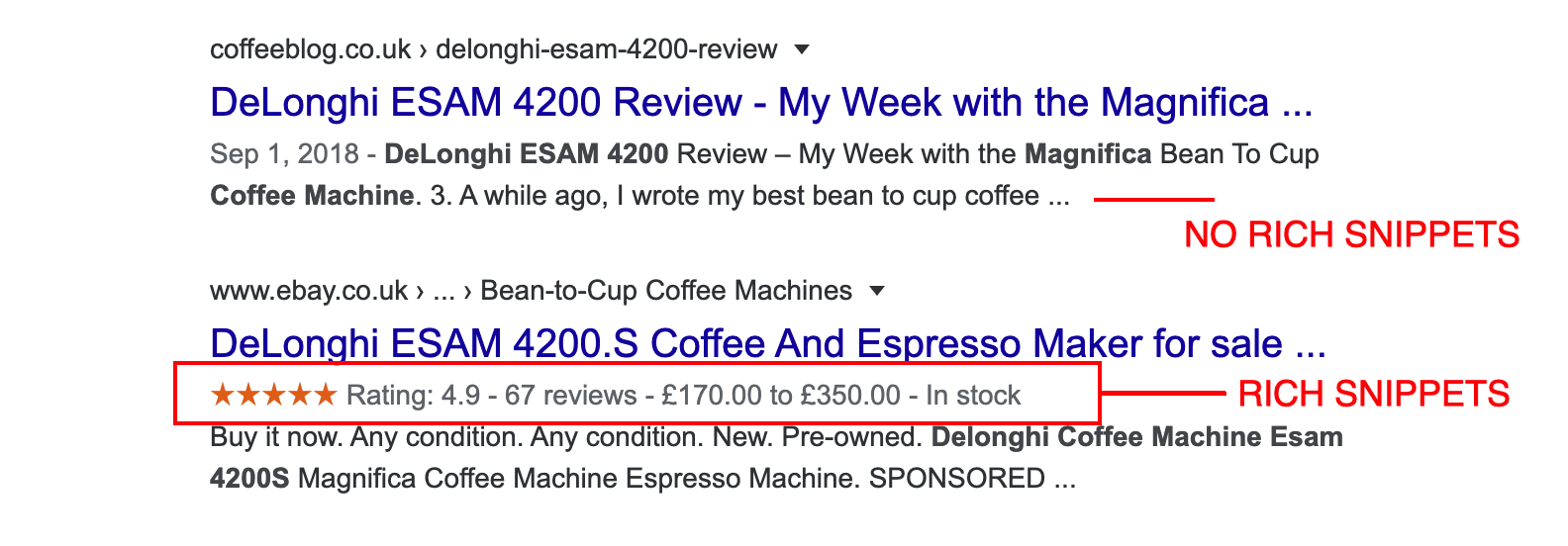 rich snippets - how they show up in the search results