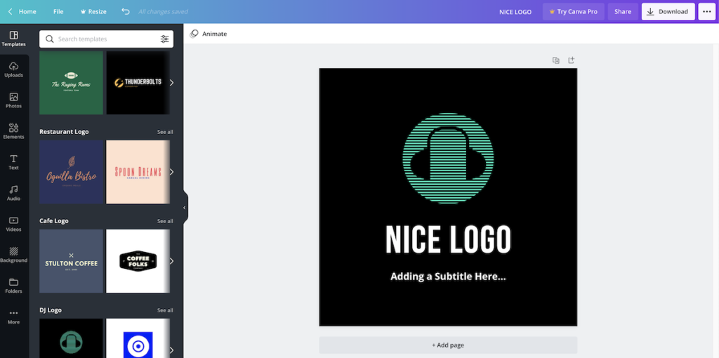 canva logo creation example